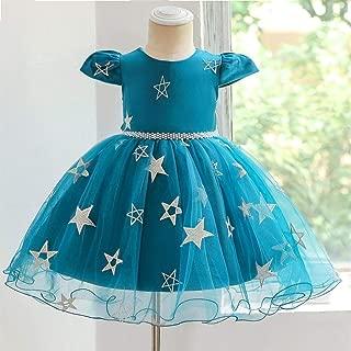 Luxury Child Star Satellite Network Yarn Princess Dress Flower Girl Dress Beaded Dress Skirt Princess Skirt Short-Sleeved Year Old Baby Birthday Dress Skirt Star ryq (Color : Green, Size : 100cm)