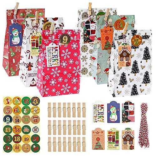 Annvchi Geschenk Papiertueten, 24 Adventskalender zum befüllen, DIY Dekorationen für Weihnachten Party mit Geschenk Tasche, 24 Holzclip, 24 Seil, 24 Etikett, 1-24 Weihnachtsnummer Aufklebern