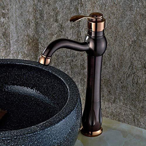 GUOCAO Grifos de baño de bronce aceitado para lavabo de cobre grifo mezclador caliente y frío antiguo fregadero grifo de agua grifo de cocina