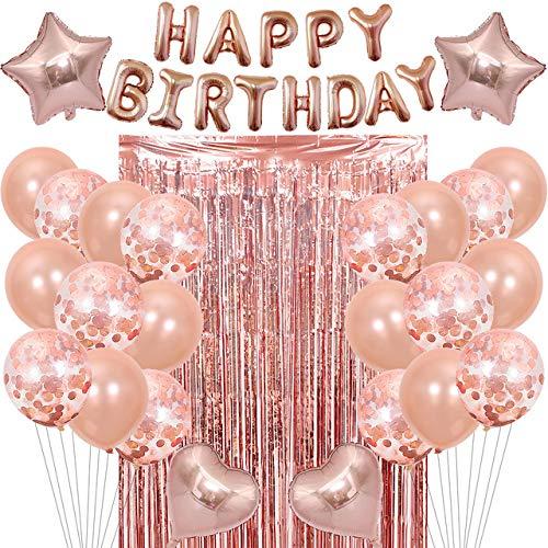 Feste di Compleanno Oro Rosa Palloncini,Palloncini per Compleanno Decorazioni per Feste di Compleanno,Happy Birthday Palloncino per Compleanno Decorazioni per Uomini Donne Adulti