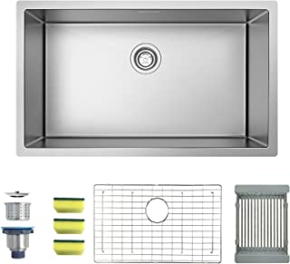 MENSARJOR 30'' x 18'' Single Bowl Kitchen Sink 16 Gauge Undermount Stainless Steel Kitchen Sink, Bar or Prep Kitchen sink