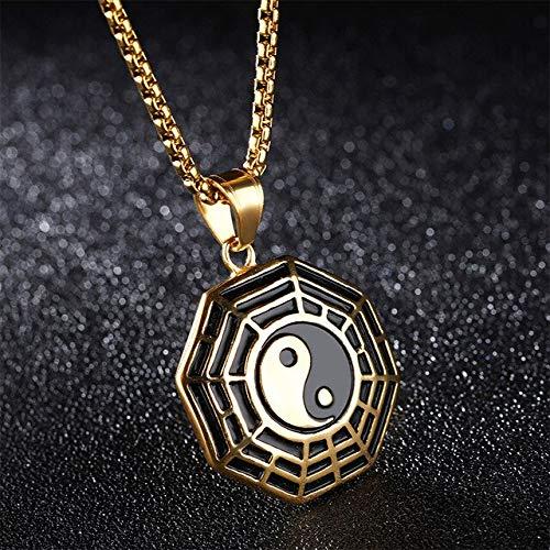 Collar creativo de brújula Tai Ji Punk Yin Yang Gossip colgante de acero inoxidable amuleto de moda para hombres regalos de joyería1