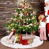 Iraza Falda de Árbol de Navidad Blanco de Suave Felpa, Base de Árbol de Navidad para la Navidad año Vacaciones Decoración (122CM)