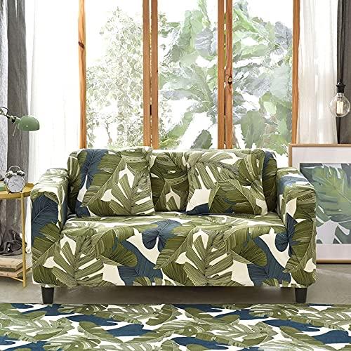 PPOS Hojas Tropicales Funda de sofá elástica Funda de sofá elástica Funda seccional para Sala de Estar Sofá Protector de Muebles A19 3 Asientos 190-230cm-1pc