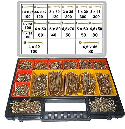 1800 tlg. Schraubensortiment, Torx Antrieb, 3,0 x 16-5,0 x 80, Spanplattenschrauben im Koffer, herausnehmbare Boxen