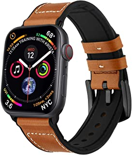 GOSETH Compatible with Apple Watch Band, 42mm iwatch Band Soft Genuine Leather with Silicon Lining Replacement Watch Band Compatible with Apple Watch Series 3/2/1 Men Women(Brown)