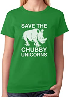 Tstars - Save The Chubby Unicorns Rhino Funny Women T-Shirt