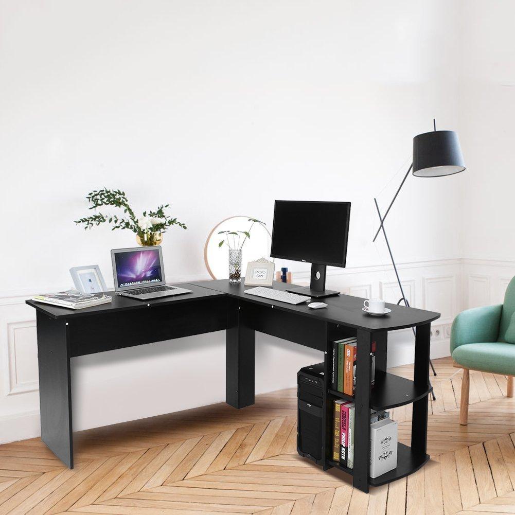 Yosoo Forma - L Mesa Escritorio de Computadora, PC, Ordenador Portátil con Estantería de Libros, para Esquina de Oficina y Estudio de Casa (Negro): Amazon.es: Hogar