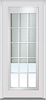 National Door Company Z007859L Fiberglass Smooth Brilliant White, Left Hand In-Swing, Prehung Front Door, Full Lite, RLB and GBG, 36