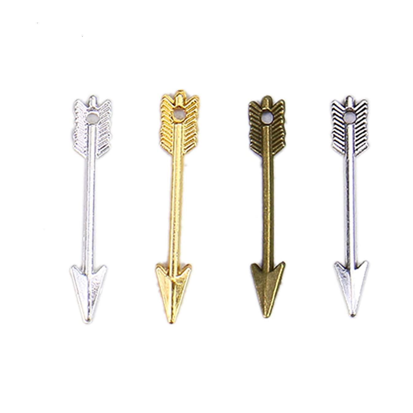 Monrocco 160pcs Vintage Antique Bronze Alloy Arrow Charms Pendant Jewelry Findings for Jewelry Making Necklace Bracelet DIY 31x5mm (4 Color)