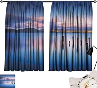 Aurauiora Curtain Nature,Wooden Pier Tops Remain in Lake with Sunset Mirror Image Out Different Perspectives, Royal Blue 84