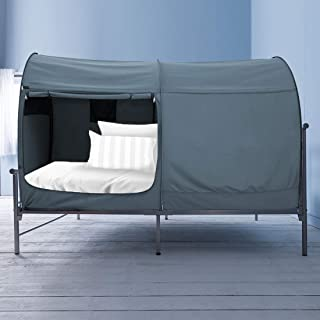 Alvantor Bed Canopy Tents Dream Privacy Space Queen Size Sleeping Tents Indoor Pop Up Portable Frame Curtains Breathable Grey Cottage (Mattress Not Included) Reducing Light