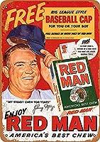 Johnny Mize for Red Man Chewing 金属板ブリキ看板警告サイン注意サイン表示パネル情報サイン金属安全サイン
