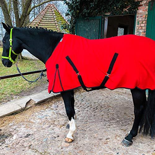 Abschwitzdecke mit Kreuzgurt für Pferde, Ponys – Atmungsaktive Pferdedecke aus Fleece – für schnelles Trocknen & Wärmen (Rot, 155 cm)