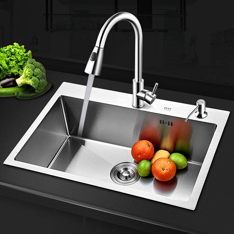 Unbekannt 3mm Single Kitchen Sink 304 Edelstahl Kitchen Sink Single Slot Spülbecken mit Ablaufkorb Ablaufrohr 0423 (gre   680X450mm)