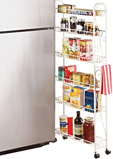 Slim Rolling Pantry 6-Tier Shelf, White Metal with Elegant Scroll Design Accent - Extra Kitchen and Bathroom Storage, 6