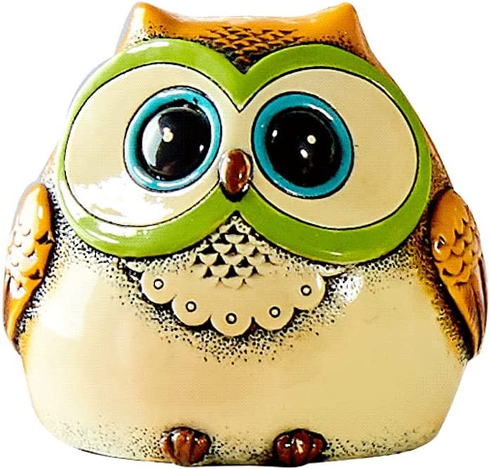 HJHJ depot Gift 2021 new Money Saver Box Mini Cu Bank Resin Owl Piggy Coin