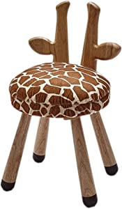 Animal Wooden Seats for Kid Padded Soft Solid Wood Kids Chair, Animal Sitting Wooden Chair for Children Toddler Perfect Home Decoration, Giraffe Kids Chair 20 Inches