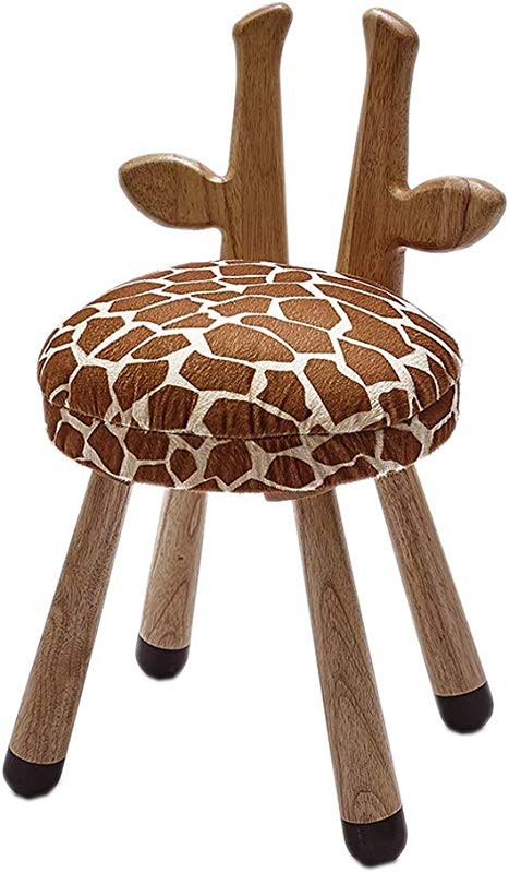 Animal Wooden Seats For Kid Padded Soft Solid Wood Kids Chair Animal Sitting Wooden Chair For Children Toddler Perfect Home Decoration Giraffe Kids Chair 20 Inches