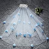 direction Velo de Novia,Wedding Head Yarn Wedding Short Single Layer Flower Black-Sky Blue_1.5M,Usar en Bodas o