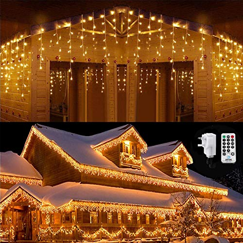 Qedertek Icicle Lights, 432 LED Christmas Fairy Lights Bright Indoor Curtain Lights with 8 Mode Function Mains Powered for Christmas Decorations (Warm White)
