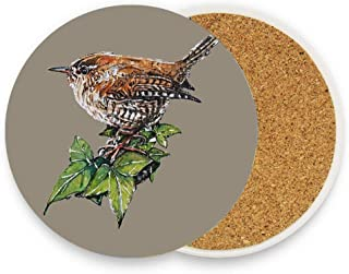 Ceramic Coaster Pack of 1, Absorbent Stone Coasters for Drinks Coffee Mug Glass Cup Place Mats - Jenny Wren Garden Bird Art