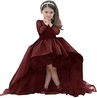 KissAngel Burgundy Lace Flower Girl Dress Black Less Party Dress