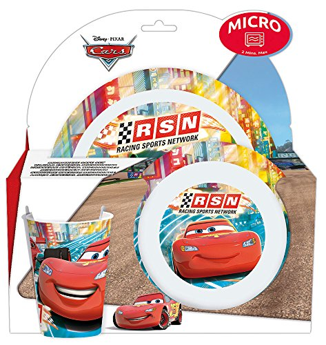 FUN HOUSE Art de la Table 005289 Art DE LA TABLE-005289-ENSEMBLE Assiette, Bol et Verre Cars, Autre, Rouge