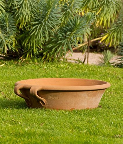 Céramique crète | Bol de plantation en terre cuite antigel | fait main | 40 cm | parfait pour planter un mini jardin de jardinière, une grande décoration méditerranéenne