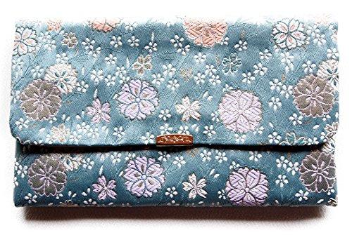 日本製 金封 ふくさ 袱紗 ( 念珠 数珠入れ 兼用) 金らんシリーズ モダン柄 (青)