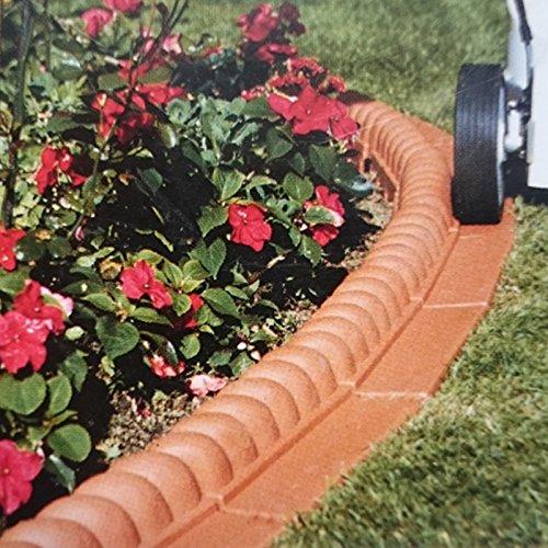 Set de bordes separadores para jardín de 2, 2 metros (14 piezas) - Delimitadores de bordes con diseño de piedra natural resistentes a la intemperie, Color:Terracota: Amazon.es: Jardín