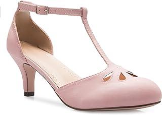 OLIVIA K Women's Kitten Low Heels T-Strap Pumps -...