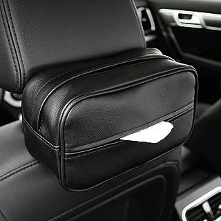 Keep Top Luxury Leather Car Sun Visor Tissue Case Holder Paper Towel Bag Cover, Back Seat Headrest Hanging Napkin Clip