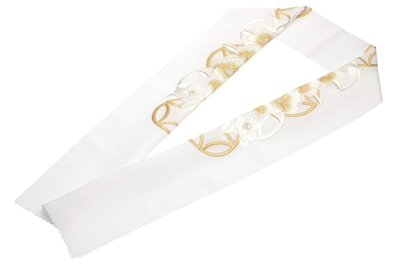 (ソウビエン) 半衿 白 ホワイト 金色 菊 花 刺繍 新合繊 シルエリー 振袖向け 留袖 婚礼 白無垢 和装小物 レディース 日本製