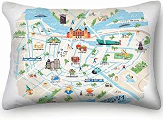 Illustrated Map Amsterdam Netherlands Doodle Buildings Landmarks Museum Signs Symbols Skin Cool Super Soft And Luxury Pillow Cases Covers Sofa Bed Throw Pillow Cover With Envelope Closure 1624 Inch