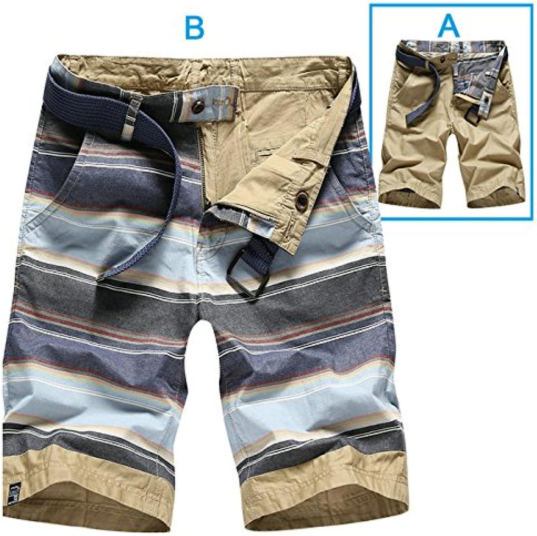 WDDGPZDK Strand Shorts Sommer Baumwolle Gestreift Lssige Shorts Men Hochwertige Cargo Mnner Shorts Beach Shorts Mnner Doppelseitige Verschlei