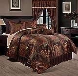 Chezmoi Collection Amelia 9-Piece Floral Jacquard Patchwork Comforter Set, King
