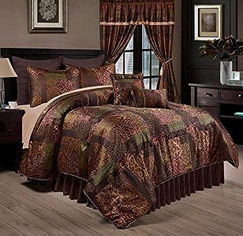 Chezmoi Collection Amelia 9-Piece Floral Jacquard Patchwork Comforter Set King