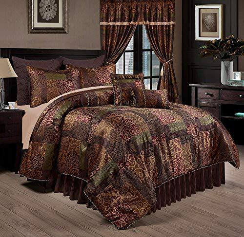 Chezmoi Collection Amelia 9-Piece Floral Jacquard Patchwork Comforter Set, Queen, Multi-Color