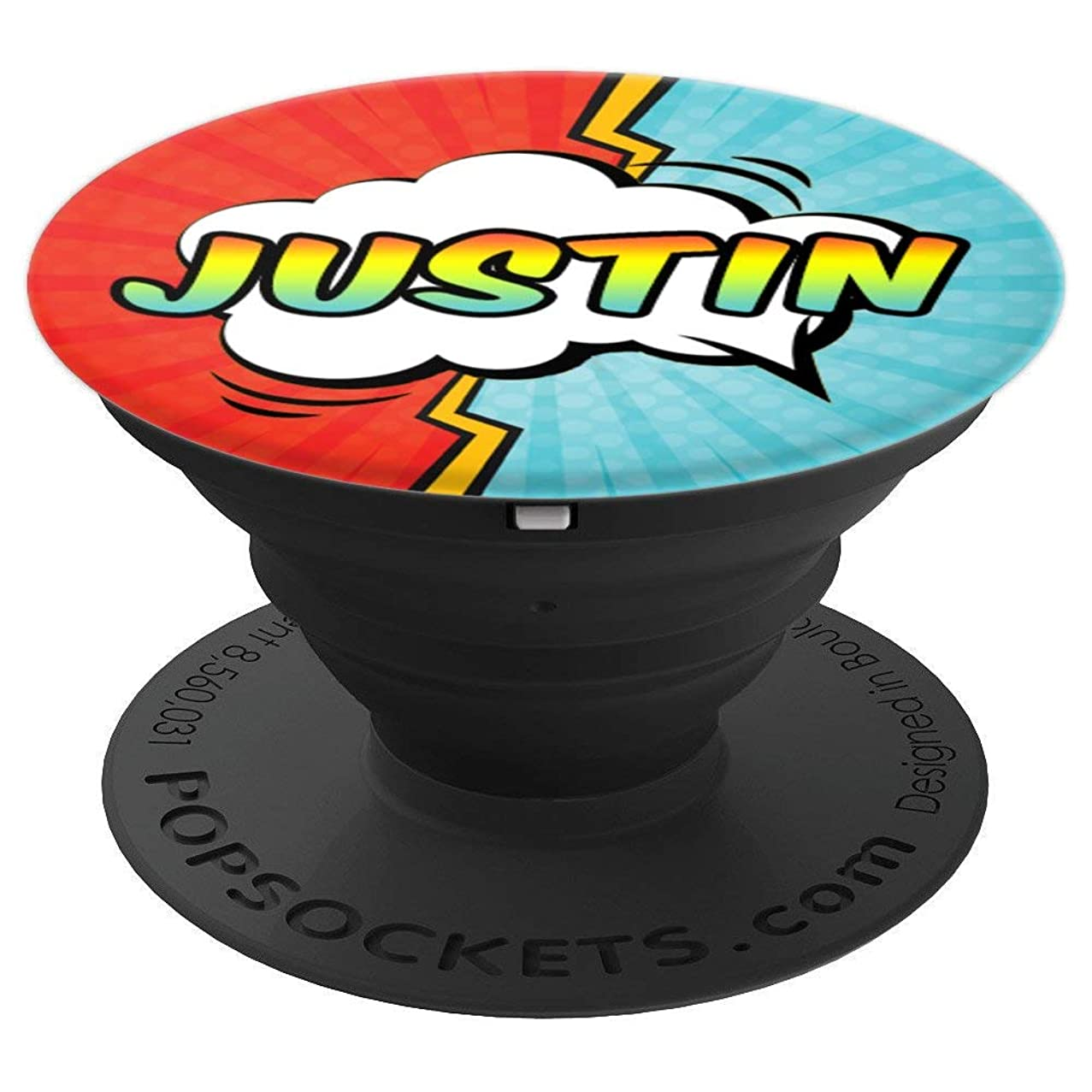 Justin Gift Pop Comic Book Art Superhero Black Red Blue Men - PopSockets Grip and Stand for Phones and Tablets