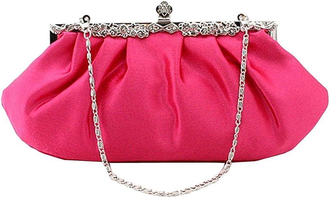 Snowskite Women's Satin Clutch Purse Pleated Crystal Evening Clutch Bags