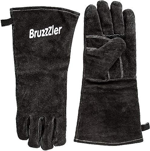 Bruzzzler Guantes de barbacoa refractarios / guantes de cuero para barbacoa largos de talla universal, guantes resistentes al calor para la barbacoa
