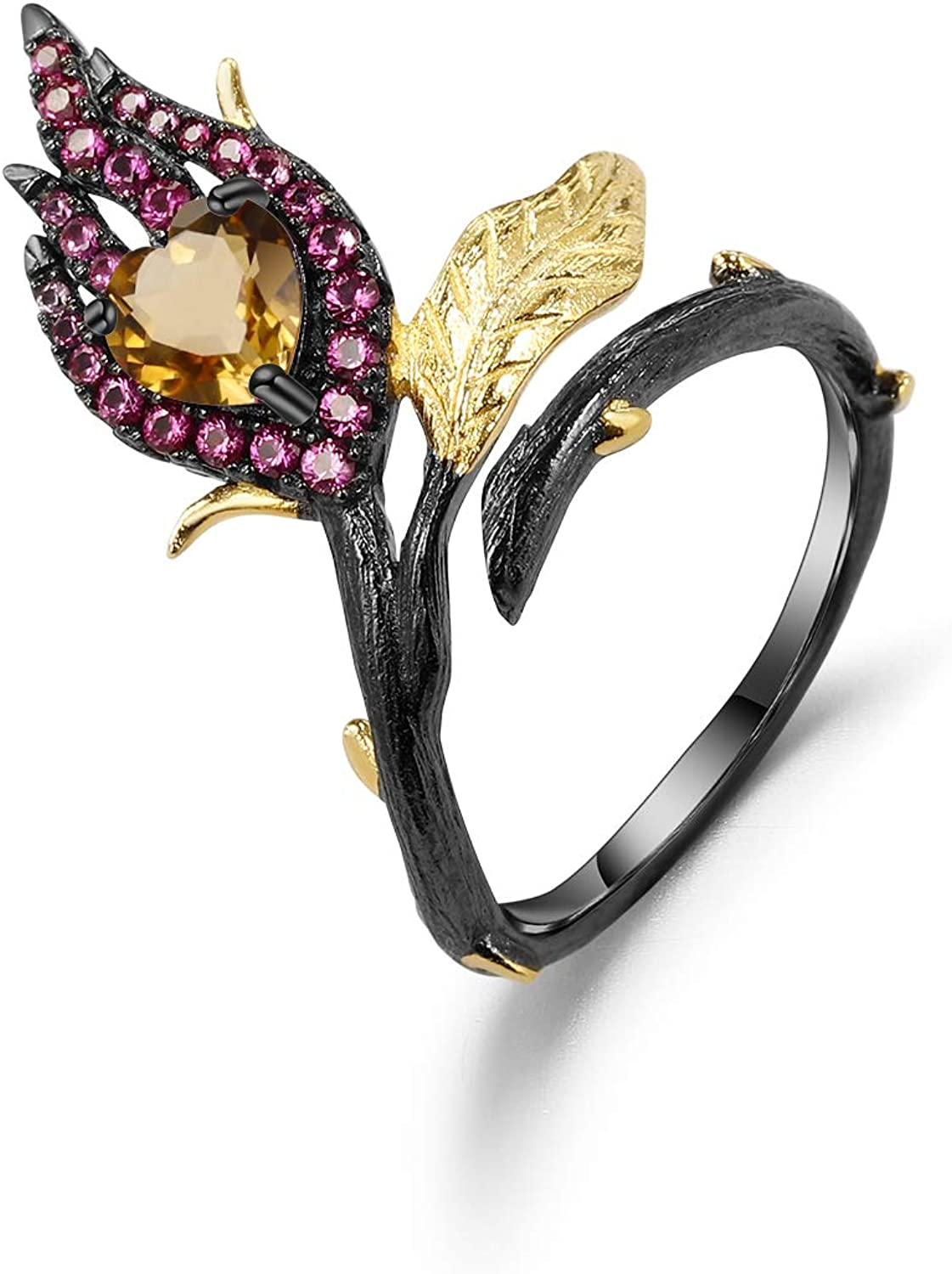 Over item handling Qitian Max 77% OFF 925 Silver Two Tone Adjust Burning Heart Handmade Woman's