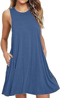 Camisunny Women Sleeveless Summer Casual Dresses Beach Cover Up Plain Pleated Tank Dress Cotton