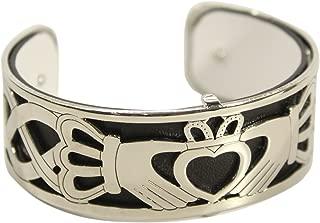 Biddy Murphy Solvar Claddagh Bangle Bracelet Rhodium Plated Reversible Leather Strap Irish Made