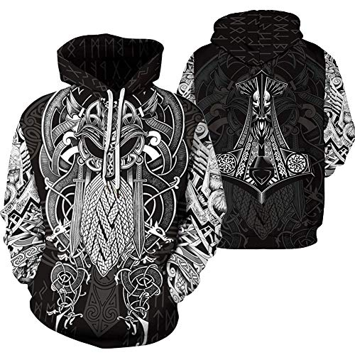 QZY Vintage Odin 3D Hoodie, Unisex Asgard Streetwear Cool Bedruckte Hoodies Personalisierte Sweatshirt Mit Großen Taschen Paare Kleid, High Definition Grafikdruck,Viking,L