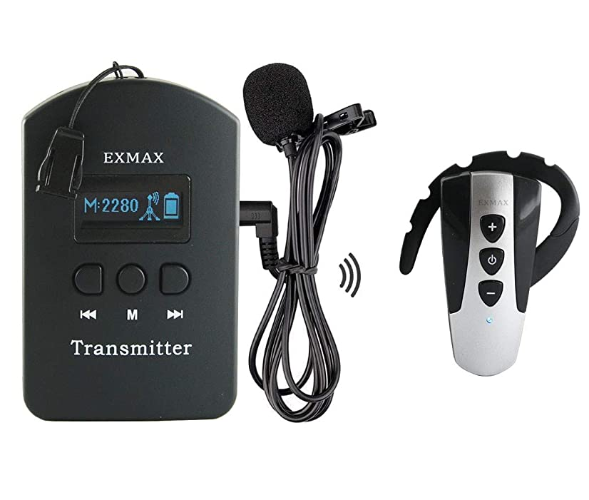 EXMAX 2.4GHz Wireless Audio Tour Guide System Ear-hook Receiver Whisper Accoustic Transmission Church System for Training Teaching Conference Simultaneous interpretation(1 Transmitter 1 Receiver)