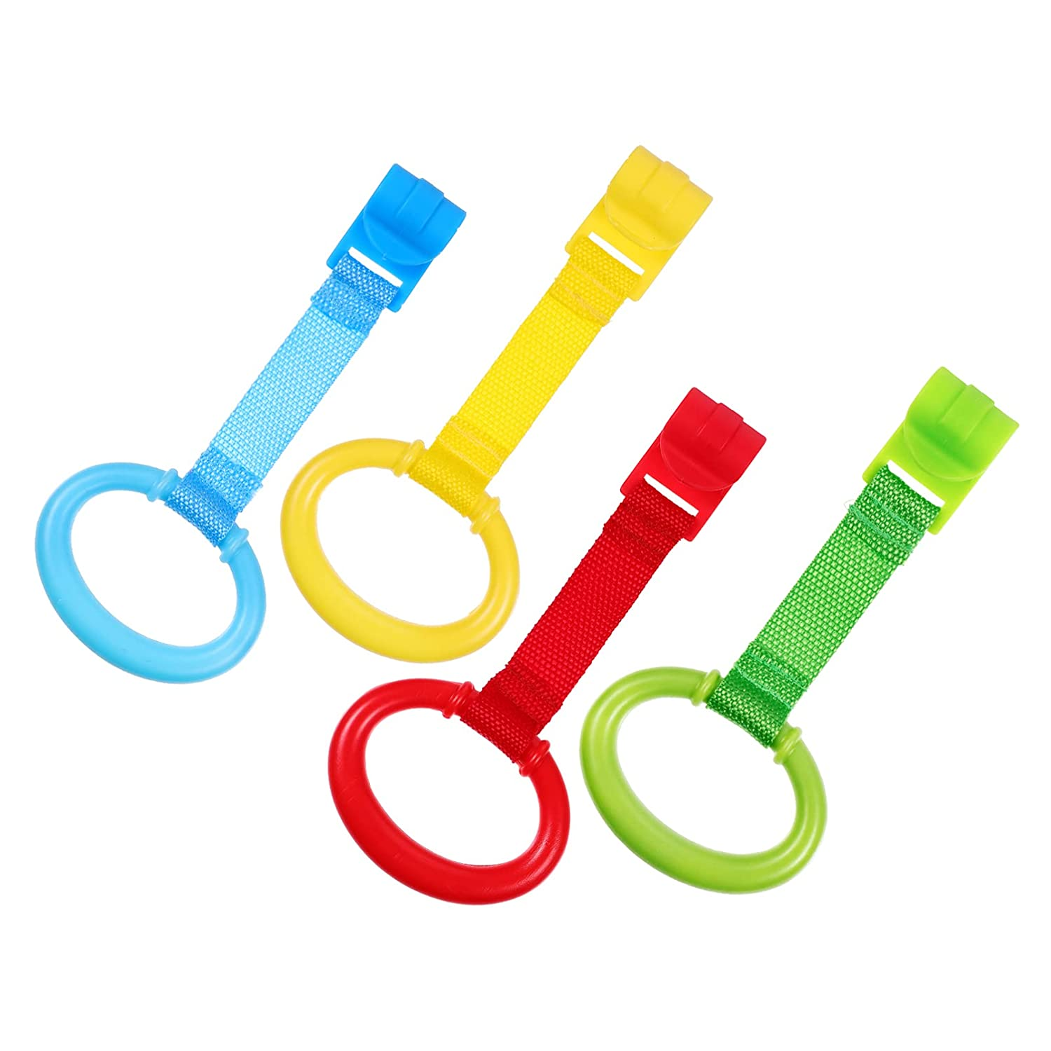 NUOBESTY Baby Crib Pull Ring Walking Assistant Pull Up Ring Bed Stand Up Rings for Kids Walking Training Tool,4pcs