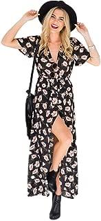 M MEIION Women's Floral Maxi Dresses Boho Button Up Split Beach Party Dress with Belt