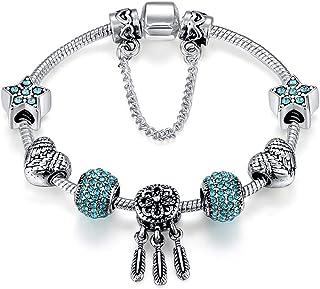 Qings Silver Plated Snake Chain Blue Crystal Beads Dreamcatcher Pendant Charm Bracelet for women Girls Jewellry Gift 18cm
